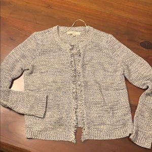 Loft sweater cardigan gray M
